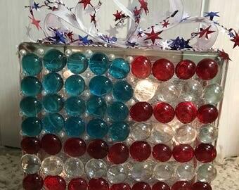 American Flag - Glass Glow Box