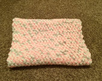 Pink, Gray and White Rose Petal Baby Blanket/ Crochet Rose Petal Baby Blanket/Crochet Baby Blanket/Baby Girl Blanket