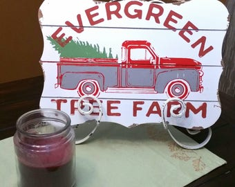 Evergreen Tree Farm, wooden hanging sign, vintage truck, home decor, wall hangings, wall decor, wooden wall plaque