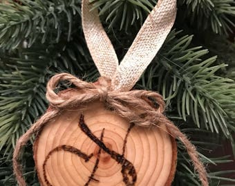 Rustic Initial Woodburned Ornament with Twine - can be customized!