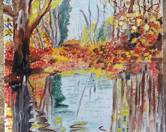 Autumn Pond, hand-painted roof tile