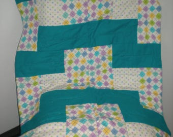 Teal baby quilt
