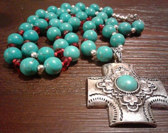 Turquoise Cross Necklace with Red Swarovski beads