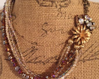 Old & New-Bronze and Gold - Vintage Assemblage Necklace