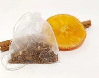 25 Organic Orange Cinnamon Tea Bags, Herbal Tea Bags, cinnamon tea, rooibos tea.