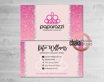 Paparazzi Business Cards, Paparazzi Consultant Cards, Paparazzi Accessories, Paparazzi Cards, Business Card, Pink, Glitter - PZ12