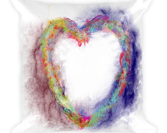 Burning Heart of Love Square Pillow