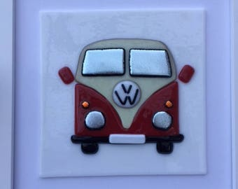 Framed VW camper van made in fused glass