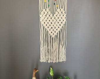 Nursery Macrame wall hanging/playroom decor/kids wall decor/ heart wall hanging/nursery decor/ modern wall art/ cotton rope/baby shower/gift