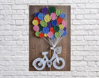 String Art Bike Gift from Godmother Wood Gift for Wife Gift-for-Her Stepmom Gift Cool Gifts for Dad Unique-Gift-for-Wife Cyclist Gift
