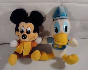 Vintage Walt Disney Mickey Mouse and Donald Duck Plush Toy