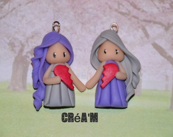 Set of 2 Poupettes polymer clay grey and purple dresses - BFF Collection - handmade jewelry