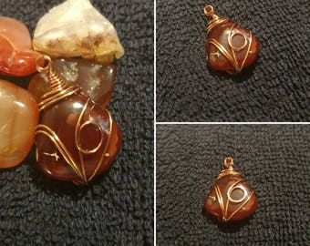 Red Agate - Wire Wrapped Pendant