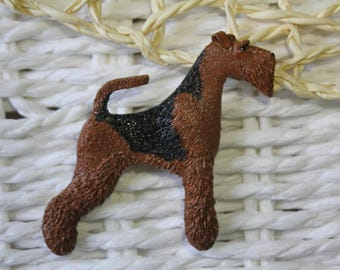 Airedale welsh terrier dog animal brooch/pin/show nomber holder polymer clay
