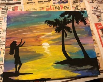Hawaiian Dancer Silhouette Painting