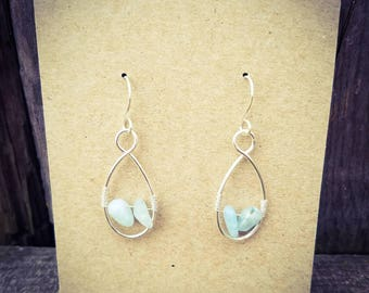 Silver Earrings with Aquamarine Beads