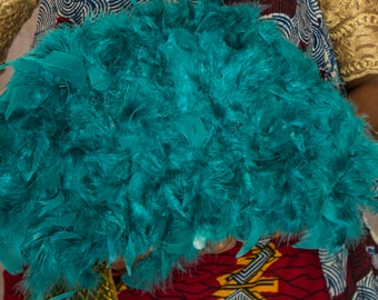 Custom Turquoise African Traditional Feather Fan
