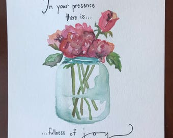 Psalm 16:11 Bible Verse Painting/Lettering Watercolor