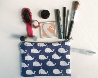Case with whales, blue cosmetic bag, clutches with whales, blue clutch, pouch with whales, blue sachet, tricks holder, pen holders, blue Box