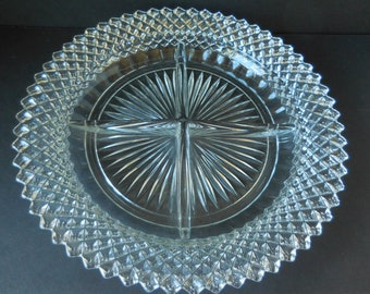 Miss America Diamond Point Divided Dish made by Anchor Hocking/Relish Plate