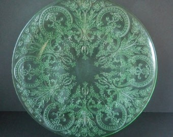 Green Depression Glass Luncheon Plate Horseshoe Pattern made by Indiana Glass