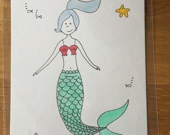 Hand-drawn Mermaid illustration-a5