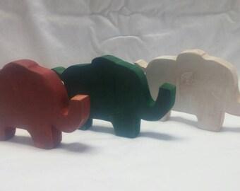 Elephant Wood Home Decor-Three Elephants