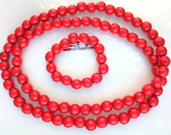 set of beads and bracelet,wooden beads,wooden necklace,red beads,wooden bracelet,red necklace,women's beads,present for mother's day