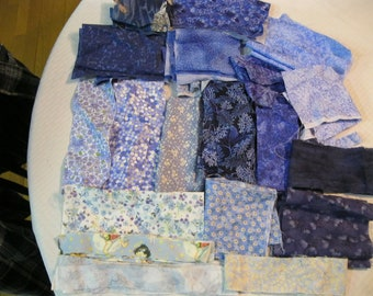 Stash-Buster Blue Cotton Quilting Fabric Scraps