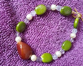 Glass marble beaded bracelet