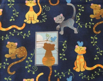 Curious Cats Cotton Fabric - (Remnant)