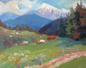 Spring  Mountains, Mountain village, Spring Landscape, Snow peaks, Original painting, Canvas Painting, Oil art by Anna Trachuk
