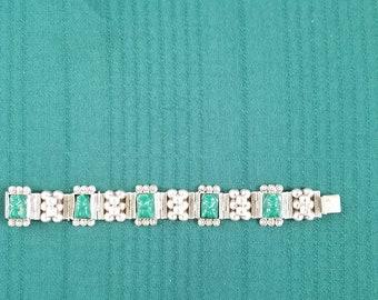 Vintage Silver Taxco Face Engraved Bracelet