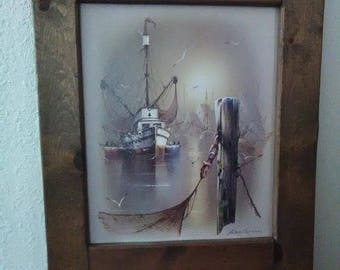 Painted by Andres Orpinas, and framed in reclaimed oak wood, is his Fishing Boat B painting. A rare find