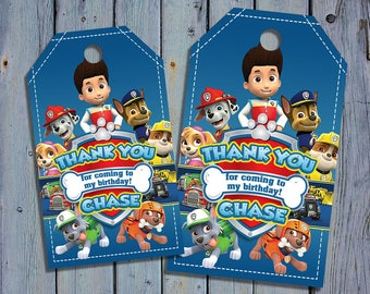 Paw Patrol Birthday Thank You Tags, Paw Patrol Favor Tag, Chase Skye Printable Digital Labels, Marshall Goody Bag Tags, Hang Label Tags