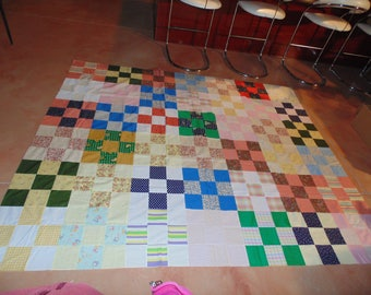 "Cotton Quilt Top Only Ready for Binding 97"" X 82"""