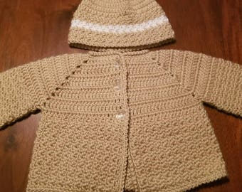 Baby Boy Crochet Sweater and beanie Hat