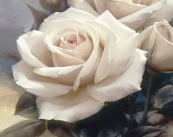 The white  rose. Oil painting on canvas. Luxury. beautiful picture