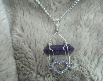 Wire wrapped Amethyst and Purple heart charm.