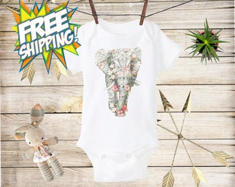 Floral Elephant baby Onesie®,Boho baby clothes,Indian baby Onesie,Animal baby bodysuit,Baby shower gift,Hipster Baby, Baby Girl Onesie