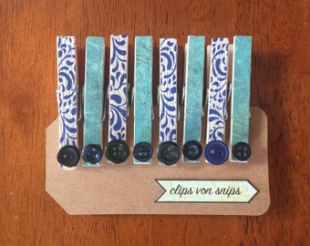 Set of 8 Blue and Teal Decorative Clothespins