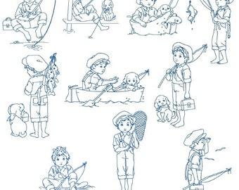 Fishing Buddies Machine Embroidery Set 5X7