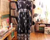 plus size Egyptian print smock dress with broomstick skirt, oversized fit maxi dress, vintage India cotton dress . 2x 3x 4x