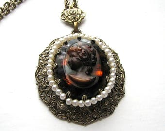 vintage West Germany cameo necklace, glass cameo with fake pearls and gold tone filigree