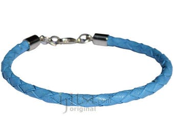 4mm sky blue braided leather bracelet or anklet metal clasp