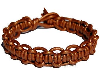 Metallic copper interlocked leather bracelet or anklet