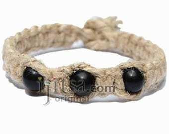 Natural thick flat hemp bracelet or anklet with three black obsidian beads