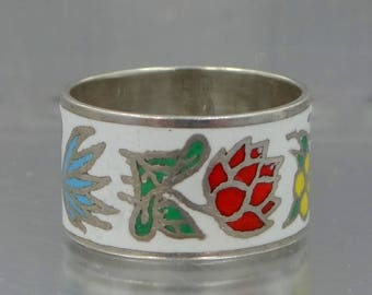 WIDE Sterling & Enamel Ring Cigar Band