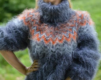 ORDER handmade Icelandic sweater fuzzy mohair sweater handknit soft Tneck Fuzzy Nordic pullover soft mohair jumper silky One size Dukyana