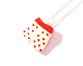 Necklace -- The BOXER SHORTS, miniature with red hearts, valentine by The Sausage